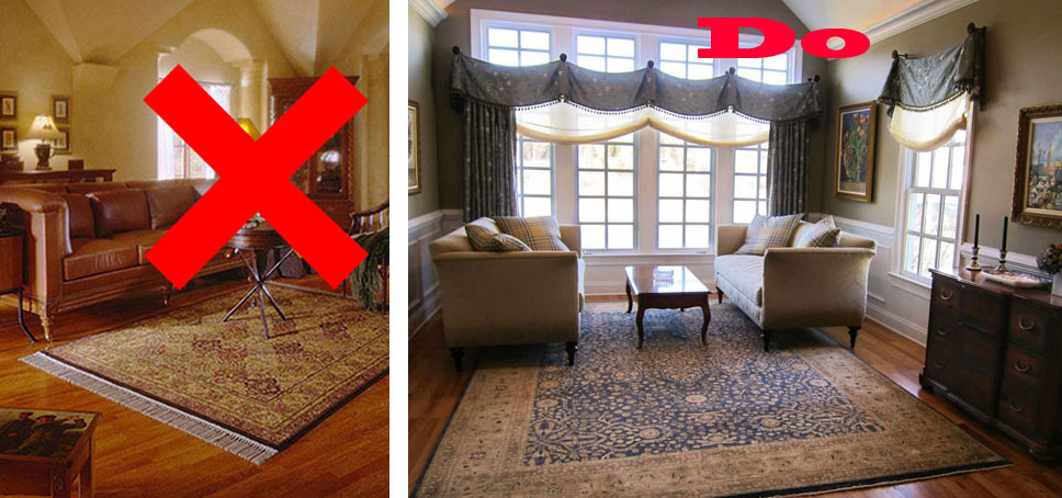 Size matters area rug addition artistry interiors llc - Common mistakes in interior decor ...